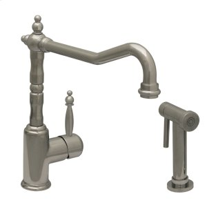 JEM Collection single-lever handle faucet with traditional swivel spout and solid brass side spray. Product Image