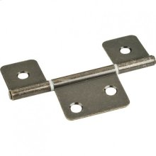"""Antique Brass 3-1/2"""" Three Leaf Fixed Pin Swaged Non-Mortise Hinge"""