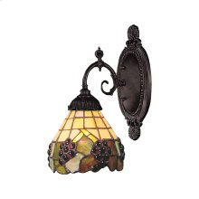 Mix-N-Match 1-Light Wall Lamp in Tiffany Bronze with Tiffany Style Glass