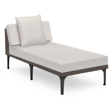 """32"""" Outdoor Dark Grey Rattan Sofa Lounger Sectional, Upholstered in COM"""