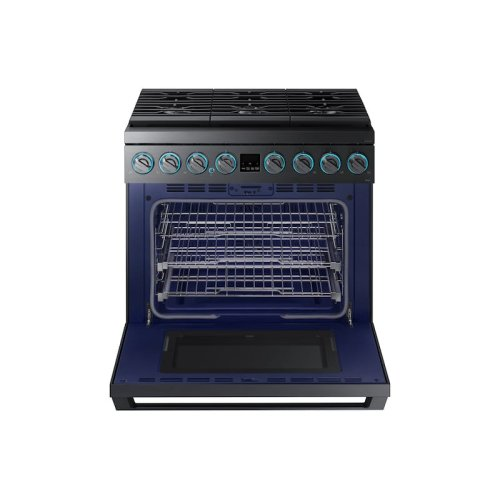"5.9 cu. ft. 36"" Chef Collection Professional Gas Range in Black Stainless Steel"