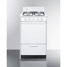 """White Gas Range In Slim 20"""" Width With Electronic Ignition and Sealed Burners"""