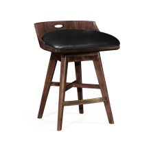Natural Walnut Counter Stool, Upholstered in Black Leather with Swivel