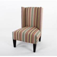 High back wing chair with nails