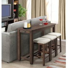 4 PIECE SET (PUB TABLE AND 3 STOOLS)