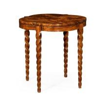 """28"""" Walnut Barleytwist Quatrefoil Side Table"""