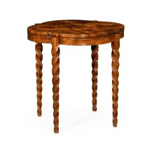 "28"" Walnut Barleytwist Quatrefoil Side Table"