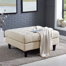 Empress Upholstered Fabric Large Ottoman in Beige