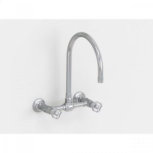 """Brushed Stainless - Wall Mount 10"""" Swivel Spout with Metal Wheel Product Image"""