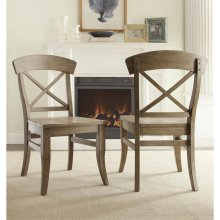 Regan - X-back Side Chair - Weathered Driftwood Finish