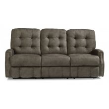 Devon Fabric Power Reclining Sofa with Nailhead Trim