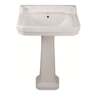 Isabella Collection large, traditional pedestal with an integrated rectangular bowl, back splash, dual soap ledges, decorative trim, and overflow. Product Image