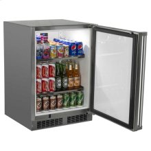 "24"" Marvel Outdoor Refrigerator - Solid Stainless Steel Door with Lock - Left Hinge"