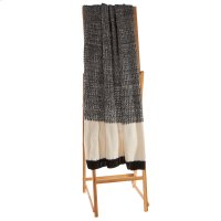 Black & White Texture Knit Block Throw Product Image