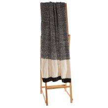 Black & White Texture Knit Block Throw
