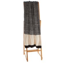 Black & White Texture Knit Block Throw