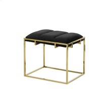 Black/gold Tufted Velveteen Bench