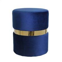 Velvet Ottoman W/ Gold Belt, Navy