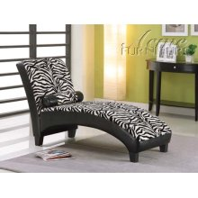 Anna Zebra Fabric & Black Bycast PU Lounge Chaise Set