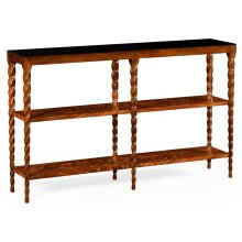 Bookcase with walnut twisted legs