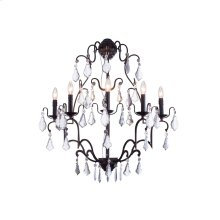 """1132 Charlotte Collection Wall Lamp W:28"""" H:36"""" E12"""" Lt:5 Antique Bronze Finish (Royal Cut Crystals)"""