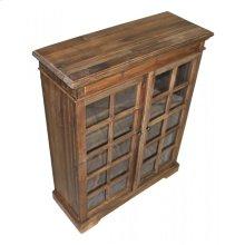 Pine 2-Door Narrow Bookcase