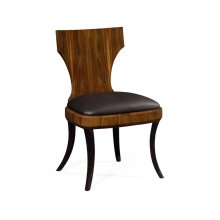 Art Deco High Lustre Klismos Side Chair in Brown Leather