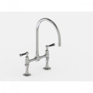 """Brushed Stainless - Deck Mount 10"""" Swivel Spout with Black Ceramic Lever Product Image"""