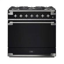 AGA Elise 36 Dual Fuel Gloss Black with Chrome trim