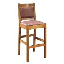Bar Stool Leather Back Seat Height 30, Oak Stool
