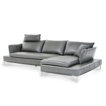 Lazzio Leather LAF Sofa in Graphite w/Headrest St.Steel