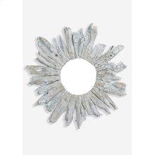 """35"""" Round Fringe Antique Teakwood Mirror in White Wash (35x3x35).."""