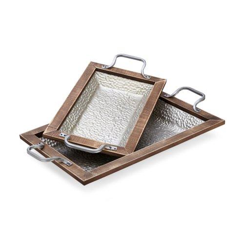 Wooden Framed Rectangular Metal Tray - Set of 2
