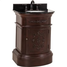 "26"" vanity with Merlot finish, carved floral details, and elegant curves with preassembled top and bowl."