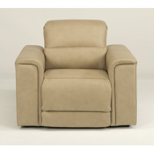 Omega Leather Power Recliner with Power Headrest