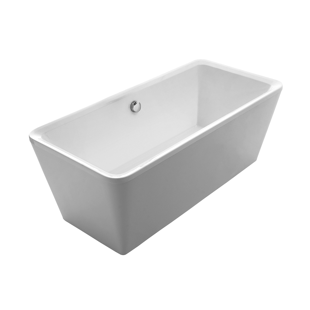 Bathhaus cubic-style double-ended freestanding bathtub made of Lucite ® acrylic with a chrome mechanical pop-up waste and a chrome center drain with internal overflow.