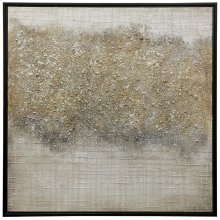 Silver & Gold Rupture  40in X 40in Hand Embellished Highly Textured Canvas Print  Stretched and Fr