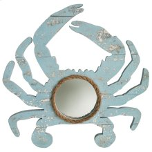 Weathered Crab Blue  Wooden with Rope Accent Mirror  18in X 18in
