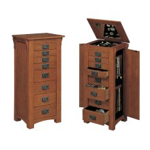 "255G  ""Mission Oak"" Jewelry Armoire"