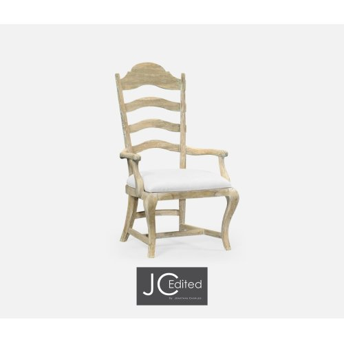 "Walnut ""Yoke"" Ladderback Side Chair, Upholstered in COM"