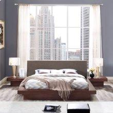 Freja 3 Piece Queen Fabric Bedroom Set in Walnut Brown