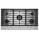 "36"" 5-Burner Gas Cooktop with Griddle - Stainless Steel Product Image"