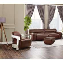 SU-AX6816-SAO  Leather 3 Piece Living Room Set  Sofa  Aviator Chair with Chrome Arms  Ottoman  Brown