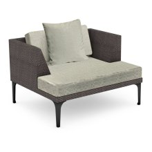 "42"" Outdoor Dark Grey Rattan Single Sofa Lounger, Upholstered in Standard Outdoor Fabric"