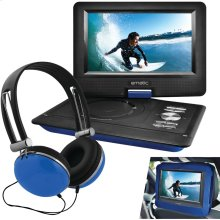 "10"" Portable DVD Player with Headphones & Car-Headrest Mount (Blue)"