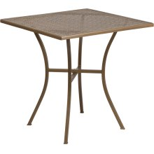 """Commercial Grade 28"""" Square Gold Indoor-Outdoor Steel Patio Table"""