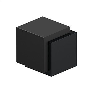 "Floor Door Bumper 1-3/4"", Cube, Contemporary, Stainless Steel - Paint Black Product Image"