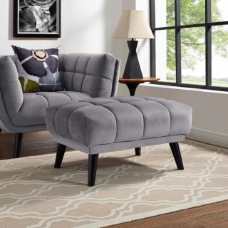 Bestow Performance Velvet Ottoman in Gray