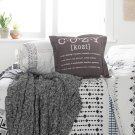 2 item kit - Throw Pillow Cozy Print with Cable-Knit Throw Blanket - Gray Product Image
