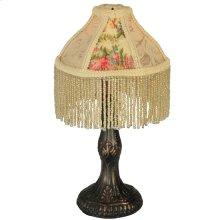"10""H Fabric & Fringe Roses Mini Lamp"